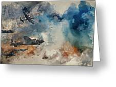 Watercolor Painting Of Flight Formation Of Battle Of Britain World War Two Consisting Of Lancaster B Greeting Card