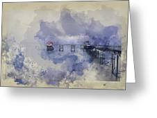 Watercolor Painting Of Landscape Of Victorian Pier With Moody Sk Greeting Card