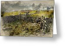 Watercolor Painting Of Public Footpath Signposts In Landscape In Greeting Card