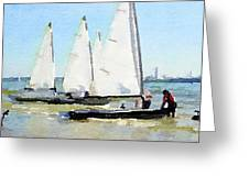 Watercolor Painting Of Small Dinghy Boats Greeting Card