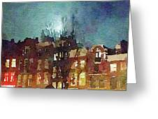 Watercolor Painting Of Spooky Houses At Night Greeting Card