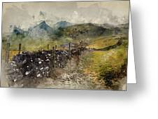 Watercolor Painting Of Stunning Landscape Of Chrome Hill And Parkhouse Hill Dragon's Back In Peak Di Greeting Card