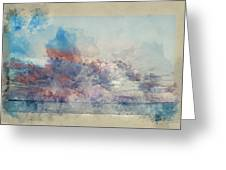 Watercolor Painting Of Stunning Sunset Cloud Formation Over Calm Sea Landscape Greeting Card
