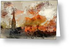 Watercolor Painting Of Winter Frosty Sunrise Landscape Salisbury Greeting Card