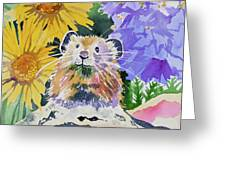 Watercolor - Pika With Wildflowers Greeting Card by Cascade Colors