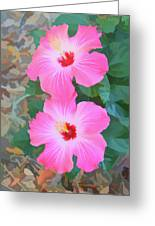 Watercolor Pink Hibiscus Blooms Vertical Greeting Card