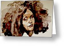 Watercolor Portrait Of A Woman With Bad Hair Day Greeting Card