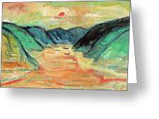 Watercolor River Scenery Greeting Card