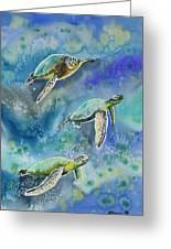 Watercolor - Sea Turtles Swimming Greeting Card