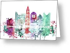 Watercolor Skyline Of Columbus, Ohio Greeting Card