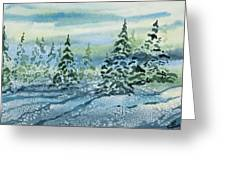 Watercolor - Snowy Winter Evening Greeting Card