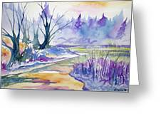Watercolor - Stream And Forest Greeting Card