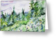 Watercolor - Summer In The Rockies Greeting Card