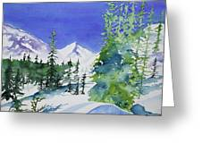 Watercolor - Sunny Winter Day In The Mountains Greeting Card