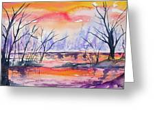Watercolor - Sunrise At The Pond Greeting Card