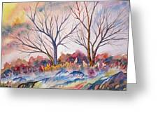 Watercolor - Trees And Woodland Meadow Greeting Card