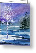 Watercolor - Winter Aspen Greeting Card
