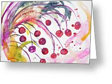 Watercolor - Winter Berry Abstract Greeting Card