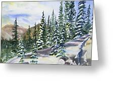 Watercolor - Winter Snow-covered Landscape Greeting Card