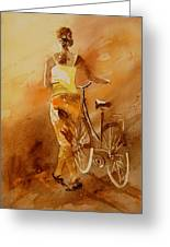 Watercolor With My Bike Greeting Card by Pol Ledent