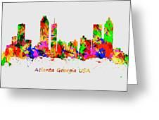 Watercolour Art Print Of The Skyline Of Atlanta Georgia Usa Greeting Card
