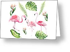Watercolour Flamingo Family Greeting Card