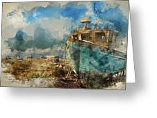 Watercolour Painting Of Abandoned Fishing Boat On Beach Landscap Greeting Card