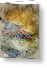 Watercolour Painting Of Low View Through Rialto Bridge Along Gra Greeting Card