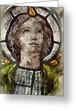 Watercolour Painting Of Stained Glass Religious Window In Church Greeting Card