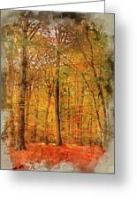 Watercolour Painting Of Vibrant Autumn Fall Forest Landscape Ima Greeting Card