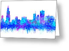 Watercolour Splashes And Dripping Effect Chicago Skyline Greeting Card