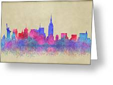 Watercolour Splashes New York City Skylines Greeting Card