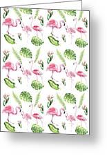 Watercolour Tropical Beauty Flamingo Family Greeting Card