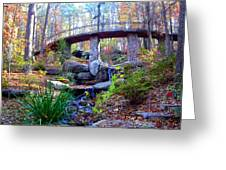 Waterfall And A Bridge In The Fall Greeting Card