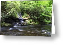 Waterfall And Mountain Creek Greeting Card