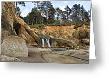 Waterfall At Hug Point State Park Oregon Greeting Card
