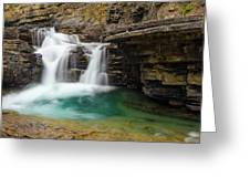 Waterfall At Johnston Canyon Greeting Card