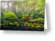 Waterfall At Lower Pond In Japanese Garden Greeting Card