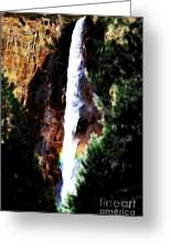 Waterfall At Yosemite Greeting Card