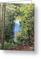 Waterfall Beyond The Trees Greeting Card