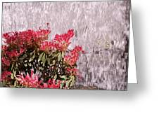 Waterfall Flowers Greeting Card