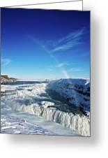 Waterfall Gullfoss In Winter Iceland Europe Greeting Card