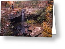 Waterfall In Fall - 1 Greeting Card