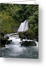 Waterfall In La Fortuna Greeting Card