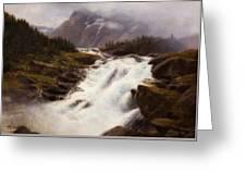 Waterfall In Norweigian Mountain Landscape Greeting Card