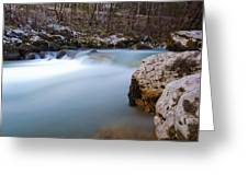 Waterfall In Slovenian Alps Greeting Card