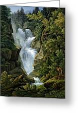 Waterfall In The Bern Highlands Greeting Card