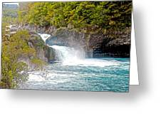 Waterfall In Vicente Perez Rosales National Park Near Puerto Montt-chile  Greeting Card