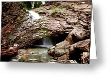 Waterfall Into A Cave Greeting Card