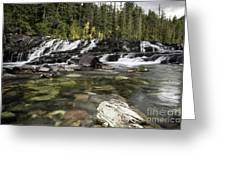 Waterfall Mcdonald Creek Greeting Card